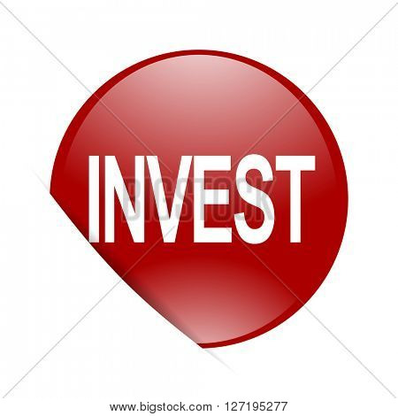 nvest red circle glossy web icon