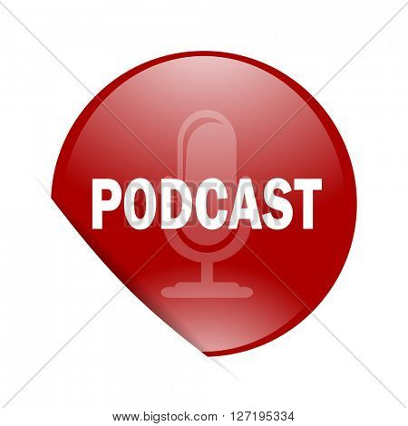 podcast red circle glossy web icon