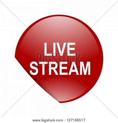 live stream red circle glossy web icon