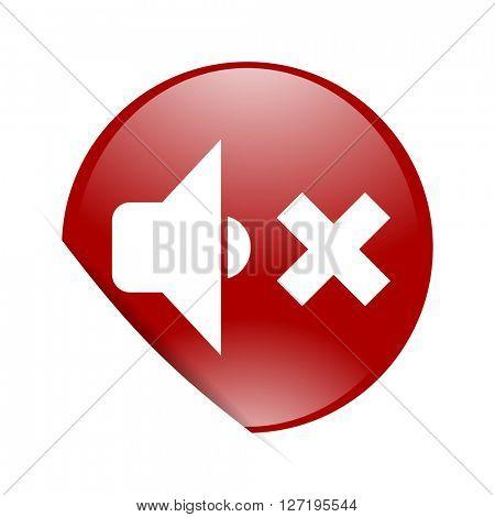 speaker volume red circle glossy web icon