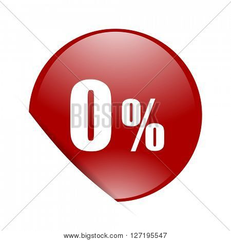 0 percent red circle glossy web icon