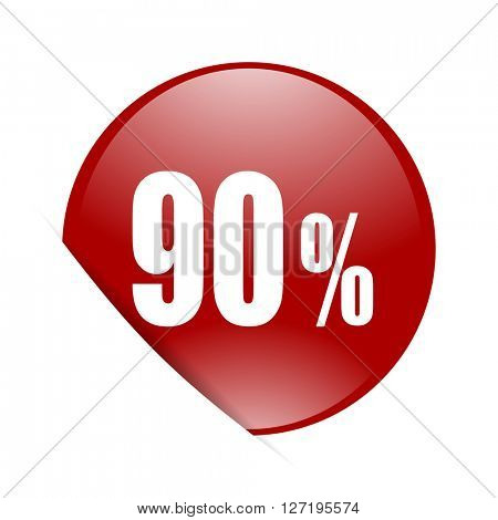 90 percent red circle glossy web icon