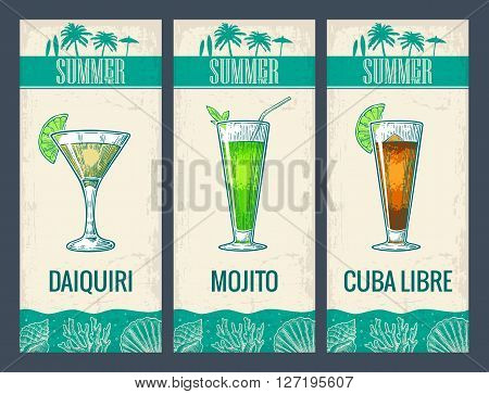 Alcohol cocktail set. Daiquiri mojito cuba libre. Vintage vector engraving illustration for web poster menu invitation to summer beach party. Isolated on light background.