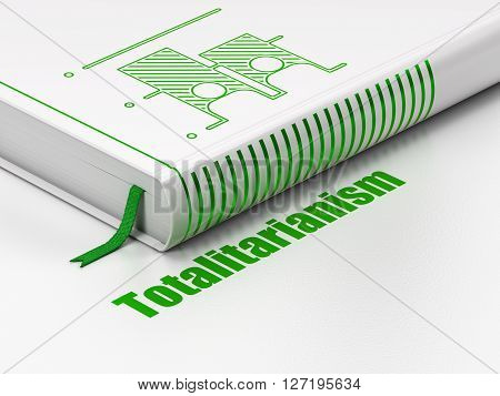 Political concept: closed book with Green Election icon and text Totalitarianism on floor, white background, 3D rendering