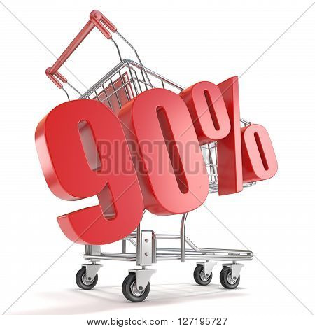 90% - ninety percent discount in front of shopping cart. Sale concept. 3D render illustration isolated on white background