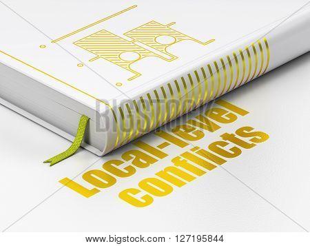 Politics concept: closed book with Gold Election icon and text Local-level Conflicts on floor, white background, 3D rendering