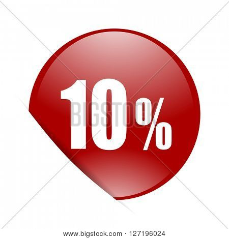 10 percent red circle glossy web icon