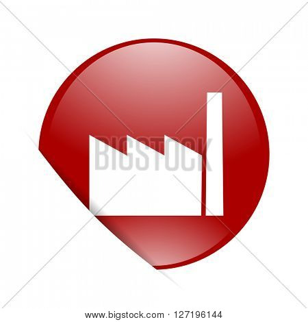 factory red circle glossy web icon