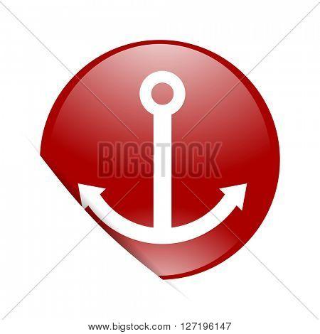 anchor red circle glossy web icon
