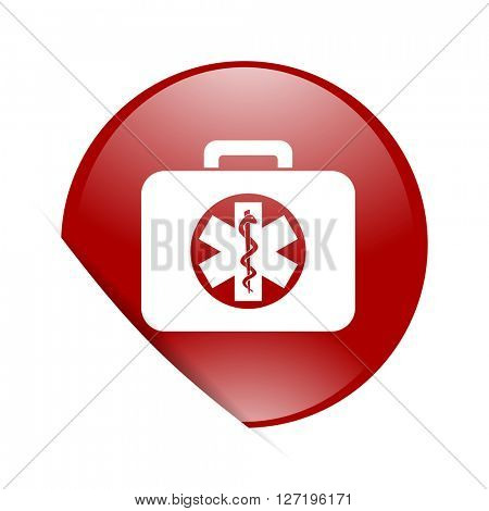 rescue kit red circle glossy web icon