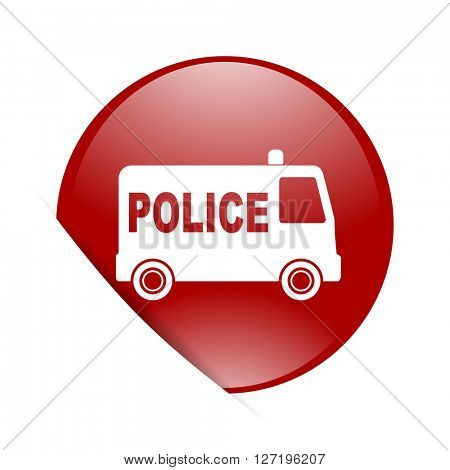police red circle glossy web icon