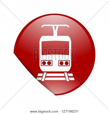 train red circle glossy web icon
