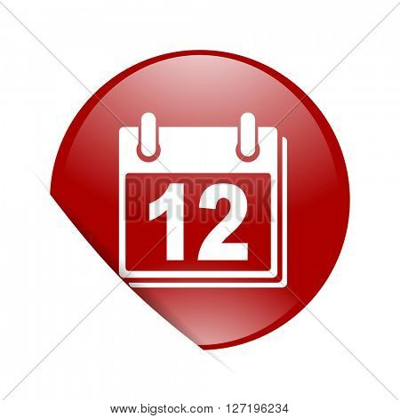 calendar red circle glossy web icon