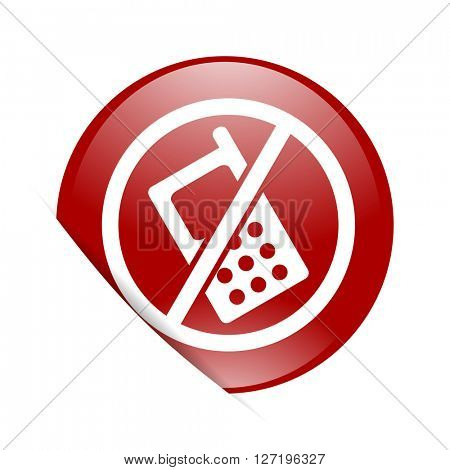 no phone red circle glossy web icon