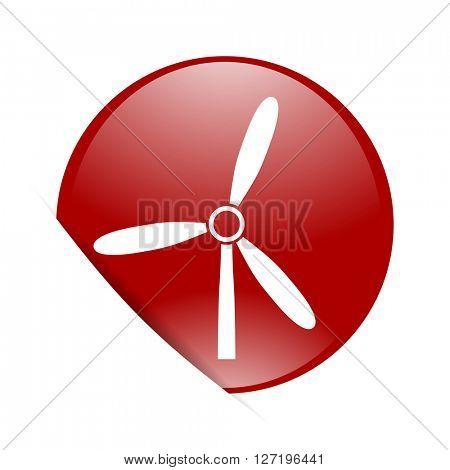 windmill red circle glossy web icon