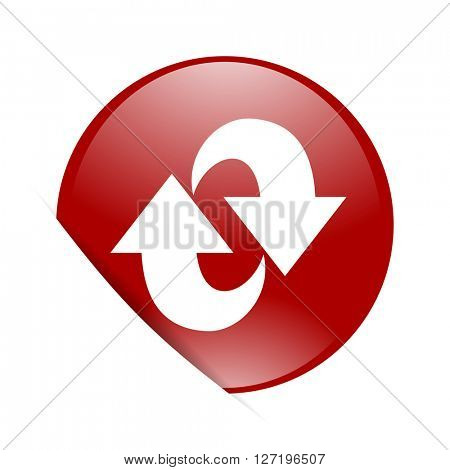 rotation red circle glossy web icon