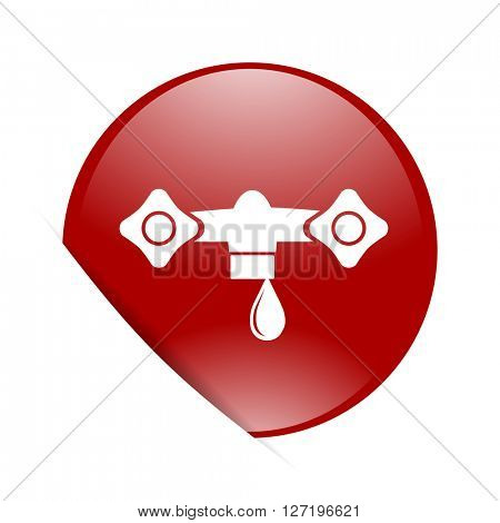 water red circle glossy web icon