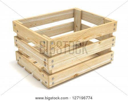 Empty wooden crate. Side view. 3D render illustration isolated on white background