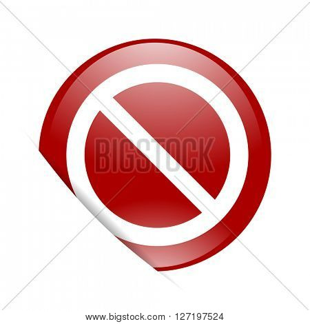 access denied red circle glossy web icon