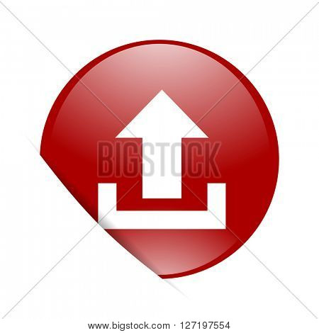 upload red circle glossy web icon