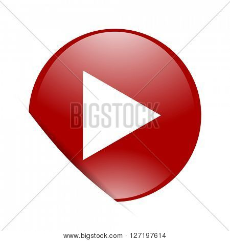 play red circle glossy web icon