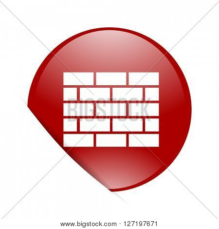 firewall red circle glossy web icon