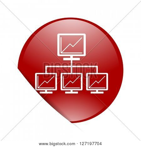 network red circle glossy web icon