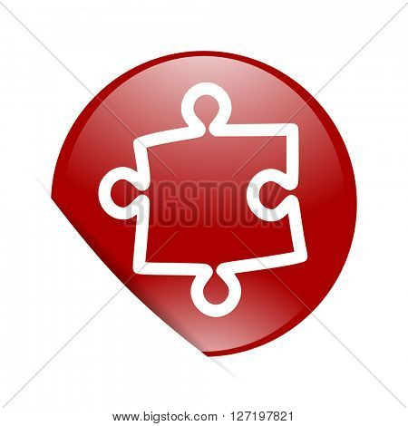 puzzle red circle glossy web icon