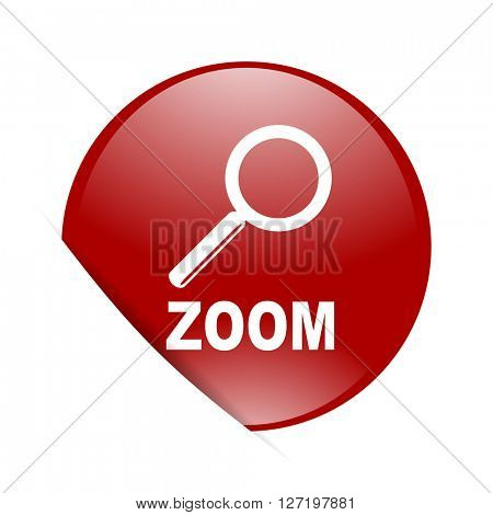 zoom red circle glossy web icon