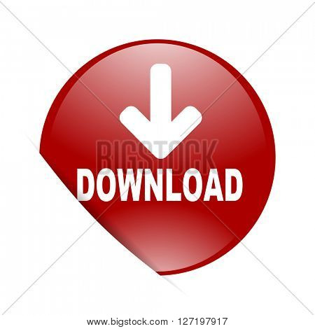 download red circle glossy web icon