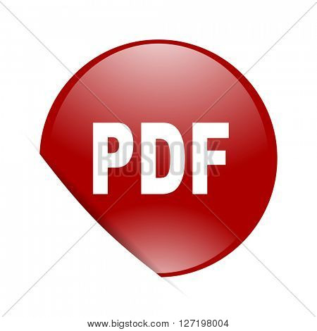 pdf red circle glossy web icon