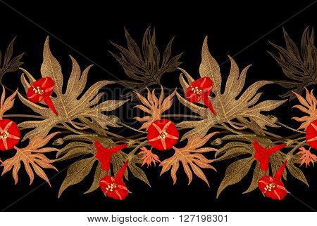 Exotic climbing plant ivy. Vector seamless floral pattern. Golden branch leaves red flowers on black background. Illustration in vintage style - template design luxury packaging textile paper.
