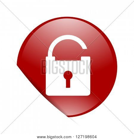 padlock red circle glossy web icon