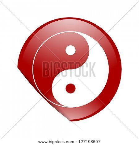 ying yang red circle glossy web icon