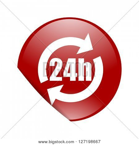 24h red circle glossy web icon