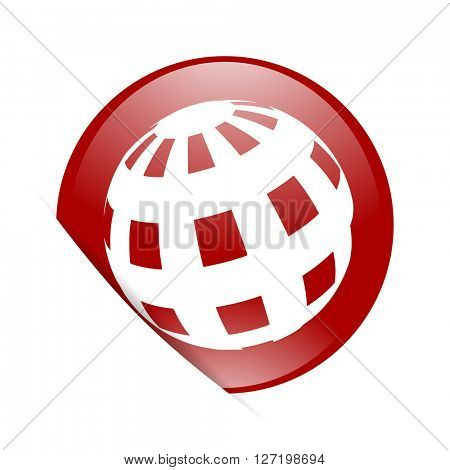earth red circle glossy web icon