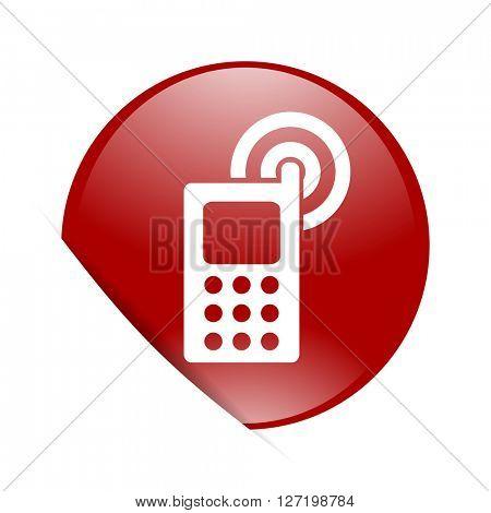 phone red circle glossy web icon