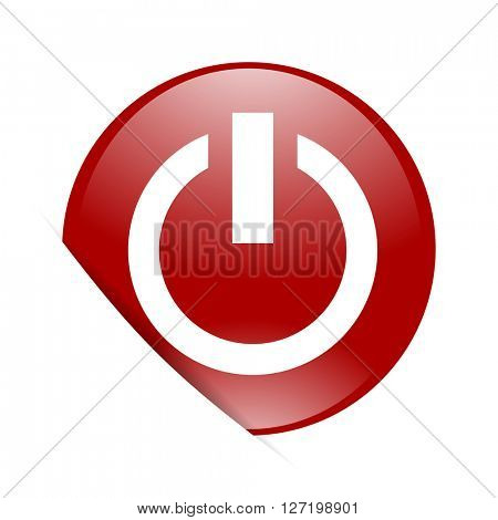 power red circle glossy web icon