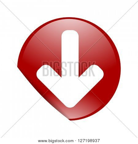 download arrow red circle glossy web icon