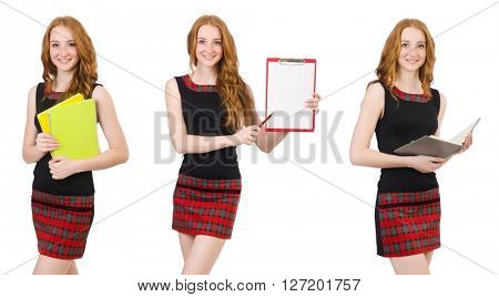 Young student in various poses isolated on white