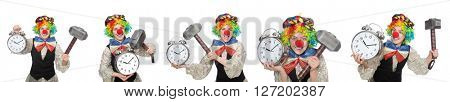 Clown in various poses isolated on white