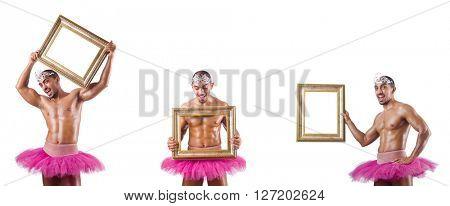 Man wearing ballet tutu isolated on white