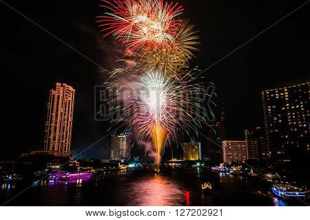 The firework on Chaopraya river Bangkok Thailand