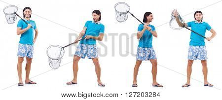 Man with big catching net isolated on white