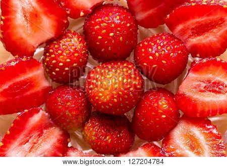 Inlaid Pattern Of Ripe Red Strawberries Close Up