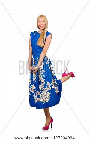 Woman in long blue folral dress isolated on white