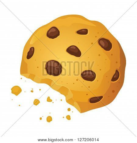 Vector stock of a chocolate chip cookie with bite mark and crumbles