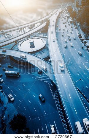 aerial view of traffic on chongqing caiyuanba overpass on a sunny day