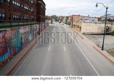 JOLIET, ILLINOIS / UNITED STATES - APRIL 19, 2015: A view of West Jefferson Street from the Broadway Street Bridge near downtown Joliet.