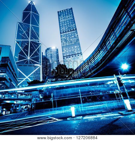 light trails in the downtown district,hong kong china.